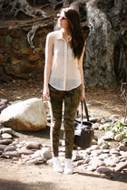 white Converse shoes - camel Forever 21 shirt - dark khaki Zara pants
