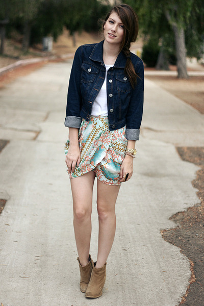 light pink Zara skirt - beige asos shoes - blue Target jacket