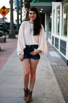 peach asos top - light brown Target boots - blue kasil shorts
