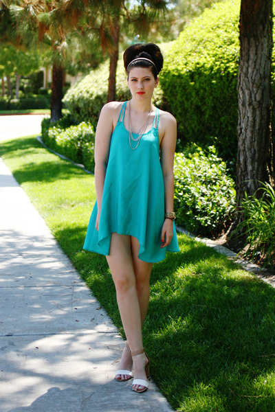 camel Zara shoes - turquoise blue Target top