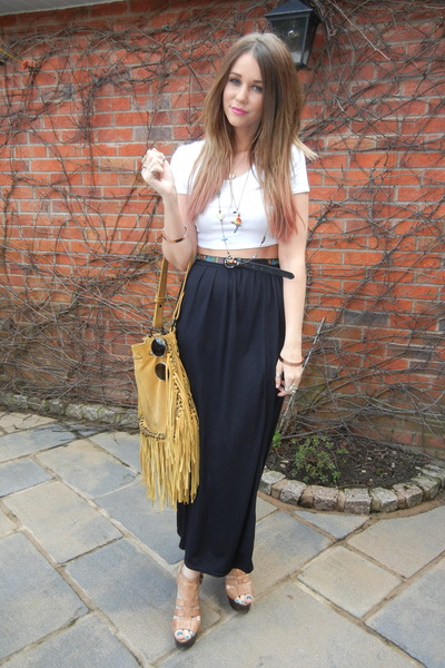 black Primark skirt - mustard River Island bag - white Topshop top