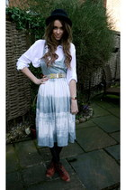 asos dress - Topshop boots - asos hat - Kitson shirt - Chanel belt