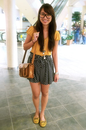 satchel rebel bag - polka dot from hong kong shorts - borrowed from Sisters top