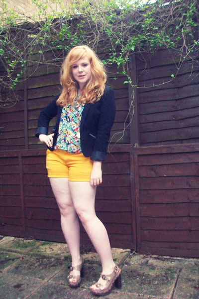 light brown Topshop shoes - black H&M blazer - gold Miss Selfridge shorts