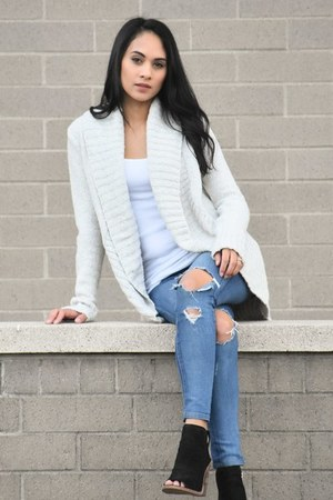 heather gray circle chenille Target cardigan - black Vince Camuto boots