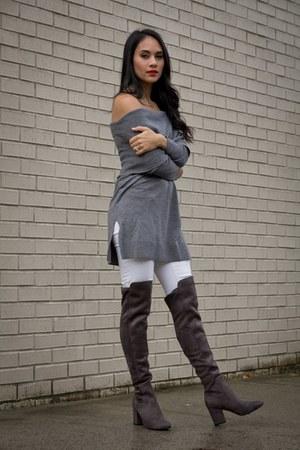 white white skinny KUT from the kloth jeans - dark gray Treasure & Bond boots