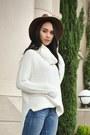 Blue-rag-bone-jeans-brown-brixton-hat-white-target-sweater