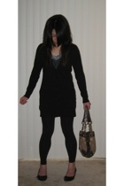 unknown top - Kersh sweater - Target leggings - Nine West shoes - Kathy van Zeel