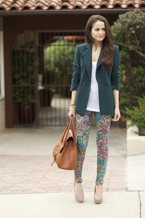 floral 7 for all mankind pants - Zara blazer - MARC CAIN bag - Jcrew t-shirt