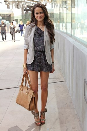 f21 romper - JCrew blazer - Hammitt bag - Valentino wedges