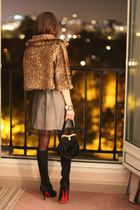 Chrisitian Louboutin boots - RED valentino dress - faux fur MARC CAIN coat