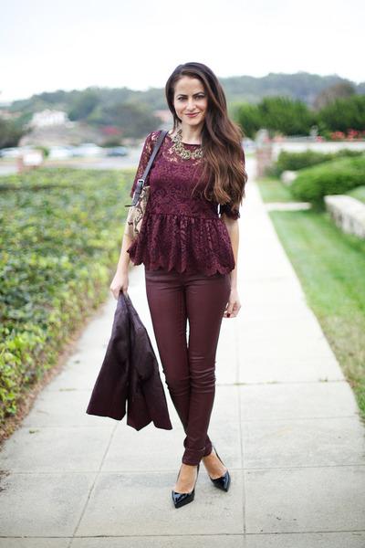 burgundy Zara shirt - H&M jacket - Topshop pants - Christian Louboutin heels