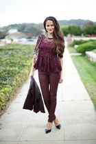 burgundy Zara shirt - H&M jacket - Topshop pants - Christian Louboutin heels
