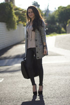 leather Topshop pants - H&M sweater - Zara bag
