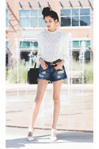 white lace vintage blouse - blue denim shorts Forever 21 shorts