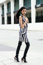 leather heels - striped emanuel ungaro dress - leather pants pants