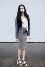 Dark-gray-american-apparel-sandals-dark-khaki-ribbed-pencil-forever-21-skirt