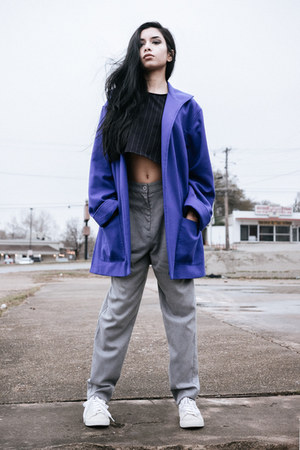 navy American Apparel top - blue loose vintage coat - beige tennis nike sneakers