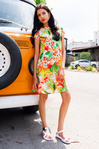 white white sandals asos sandals - carrot orange tropical print Missguided dress