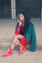 red crop top American Apparel top - turquoise blue faux fur Motel jacket