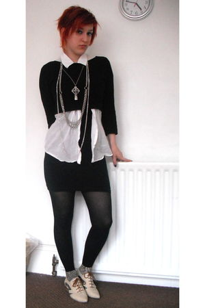 black dress - black thrifted sweater - white H&M blouse - beige asos shoes - sil