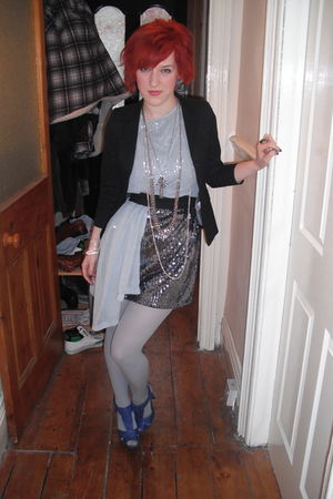 silver thrifted dress - gray thrifted top - black Ebay blazer - blue shoes - sil
