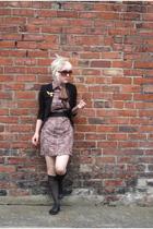 black vintage blazer - gold accessories - black stockings - brown scarf - black