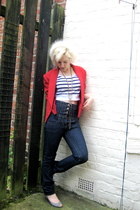 red vintage jacket - blue Primark jeans - white asos top