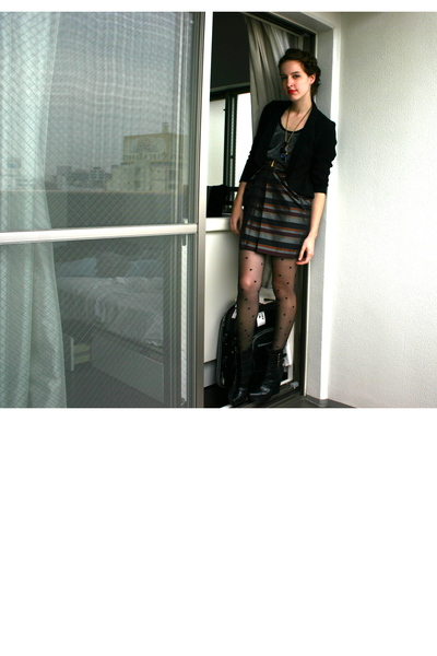 h&m dress - urban outfitters blazer - heart pattern tights - alice  olivia for p