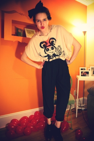 H&amp;M t-shirt - vintage pants - H&amp;M accessories - H&amp;M necklace - Jcrew for LF shoe