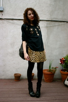 thrifted bedazzled sweatshirt - thrifted leopard dress - alice  olivia for payle