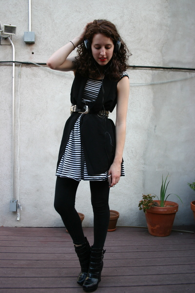 thrifted esprit dress - h&m silk vest - vintage studded belt - alice  olivia for