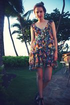 H&M garden collection dress - Aldo shoes - vintage earrings - H&M sash accessori
