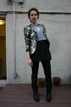 american apparel loose cropped tee - floral foil blazer - forever 21 bubble dres