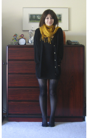 black aa skirt - black me too shoes - black thrift sweater - yellow H&M scarf