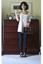 Joie shirt - Earnest Sewn jeans - stuart weitzman shoes - Goodwill purse
