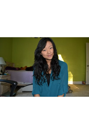 black Forever21 top - teal Forever21 blouse
