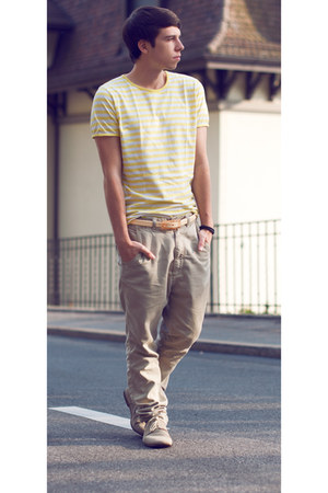 tan shmoove shoes - beige Zara pants - nude Tie-ups belt - light yellow Zara t-s