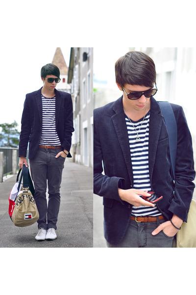 white schmoove shoes - charcoal gray Cheap Monday jeans - navy H&M blazer - beig
