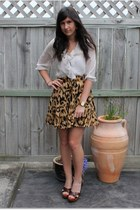 Topshop blouse - leopard print Lover skirt - Miu Miu heels