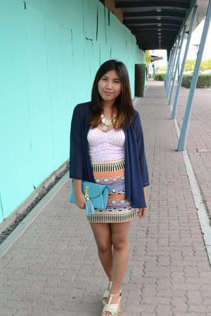 Seventeen skirt - sm accessories bag - thrifted cardigan - Jellybean wedges