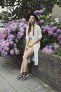 black OASAP hat - yellow OASAP shorts - white OASAP blouse - Sacha sandals