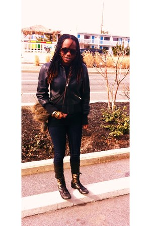 army fatigue Steve Madden boots - Forever 21 jeans - leather bomber Target jacke