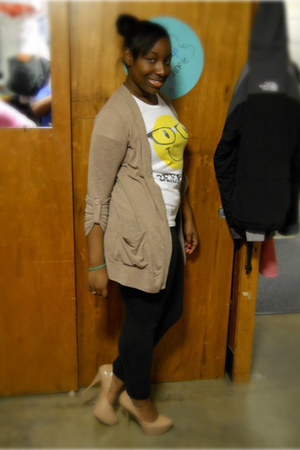 yellow Forever21 shirt - black Wetseal leggings - camel Forever21 cardigan