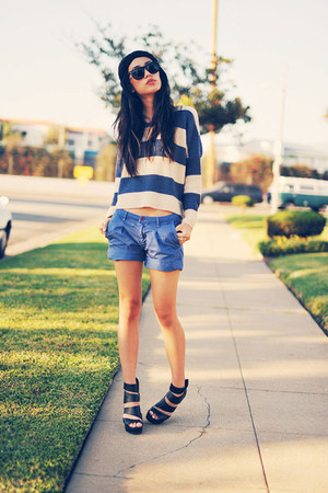 blue striped knit Chicwish sweater - Forever 21 hat - blue Kasil Workshop shorts