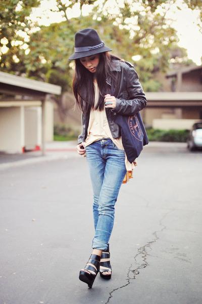 black leather Joes Jeans jacket - kasil jeans - wool Jessica Simpson hat