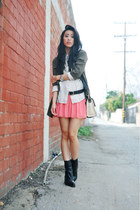 pleated pink Zara skirt - black leather Theyskens Theory boots