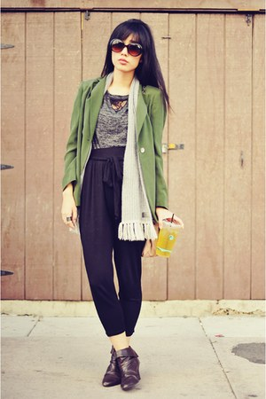 green vintage silk thrifted blazer
