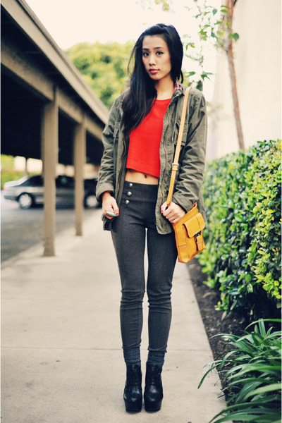 parka Old Navy jacket - red cropped H&M sweater - Nine West bag - high-waisted F