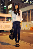 white sheer Chicwish blouse - denim skinnies sold design lab jeans
